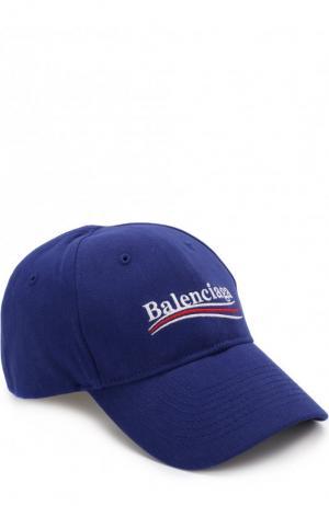 Хлопковая бейсболка с логотипом бренда Balenciaga. Цвет: темно-синий