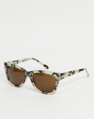 Солнцезащитные очки «кошачий глаз» в светлой черепаховой оправе -Коричневый цвет AJ Morgan