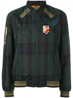 Куртка бомбер в клетку Mr & Mrs Italy. Цвет: синий
