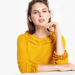 Пуловер ажурный с вырезом-лодочкой и воланами LA REDOUTE COLLECTIONS. Цвет: темно-синий