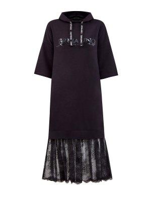 Хлопковое платье-свитшот с кружевным подолом ERMANNO SCERVINO. Цвет: черный