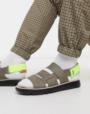 Серые сандалии с неоновыми ремешками -Серый Camper