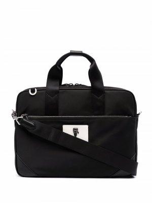 Сумка для ноутбука с декором Ikonik Karl Lagerfeld. Цвет: черный