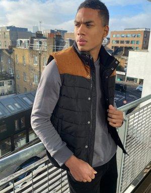 Черный вельветовый жилет -Черный цвет Burton Menswear