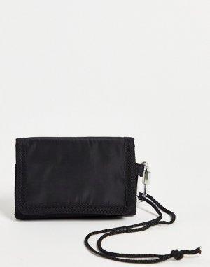 Бумажник со съемным шнурком на шею -Черный цвет SVNX