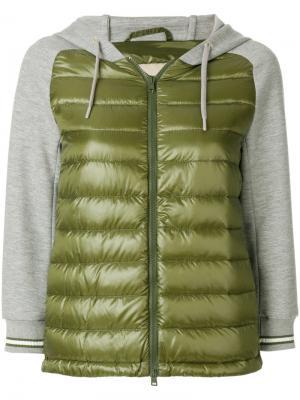 Куртка-бомбер с капюшоном Herno. Цвет: зеленый
