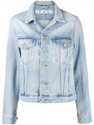 Джинсовая куртка с логотипом Floral Arrows Off-White. Цвет: синий