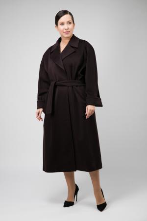 Классическое шерстяное пальто для больших размеров из Италии Teresa Tardia. Цвет: сливовый