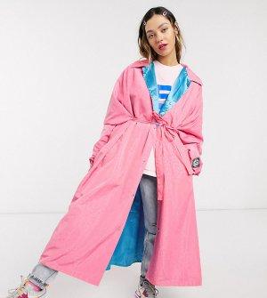 Длинный oversized-макинтош с присборенной отделкой -Розовый Little Sunny Bite