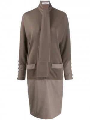 Платье миди 1990-х годов на пуговицах Jean Louis Scherrer Pre-Owned. Цвет: коричневый