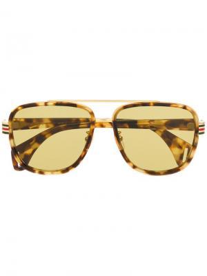 Солнцезащитные очки-авиаторы Gucci Eyewear. Цвет: коричневый