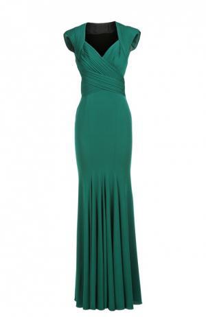 Платье вечернее Herve L.Leroux. Цвет: зеленый