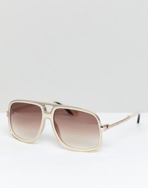 Солнцезащитные очки-авиаторы в оправе цвета слоновой кости Marc Jacobs. Цвет: белый