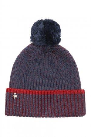 Сине-красная шапка с помпоном Bosco. Цвет: синий