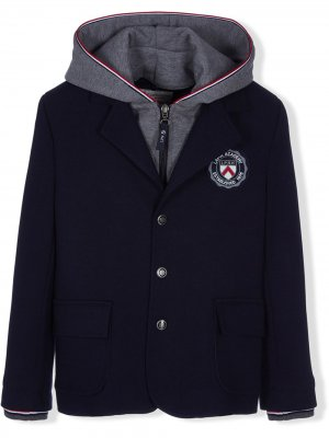 Пиджак с капюшоном и нашивкой-логотипом Lapin House. Цвет: синий