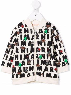 Graphic-print cotton bomber jacket Marni Kids. Цвет: белый