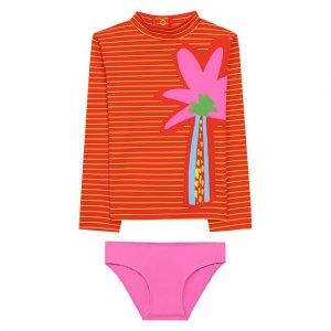 Комплект для плавания из лонгслива и трусов Stella McCartney. Цвет: розовый