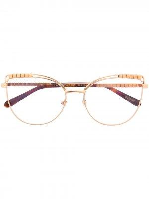 Декорированные очки в оправе кошачий глаз Chopard Eyewear. Цвет: золотистый
