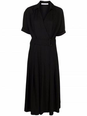 Платье миди с V-образным вырезом и поясом CAMILLA AND MARC. Цвет: черный