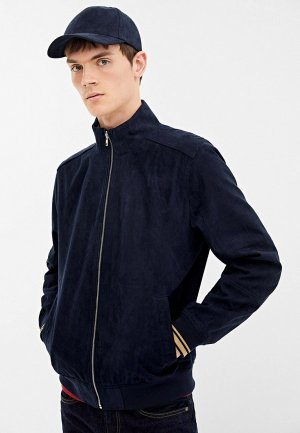 Куртка кожаная Springfield. Цвет: синий