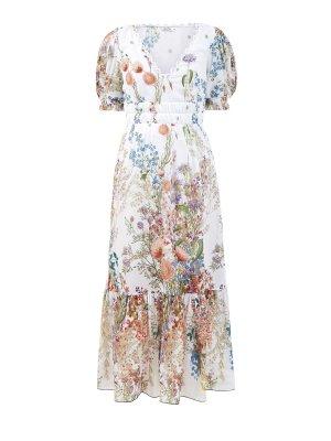 Длинное платье Liberty из хлопка с объемными рукавами CHARO RUIZ IBIZA. Цвет: белый