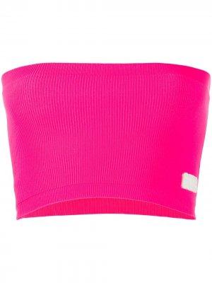 Топ-бандо в рубчик с нашивкой-логотипом Gcds. Цвет: розовый