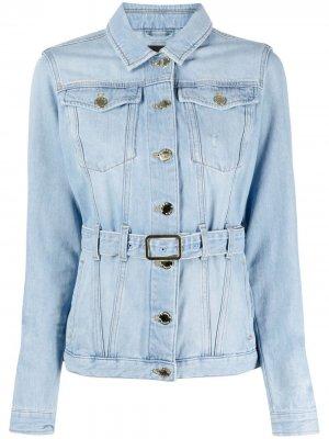 Джинсовая куртка с поясом Pinko. Цвет: синий