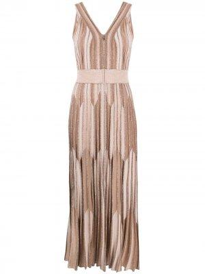 Длинное трикотажное платье с эффектом металлик D.Exterior. Цвет: нейтральные цвета