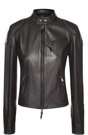 Укороченная кожаная куртка с декоративной отделкой Ralph Lauren. Цвет: черный