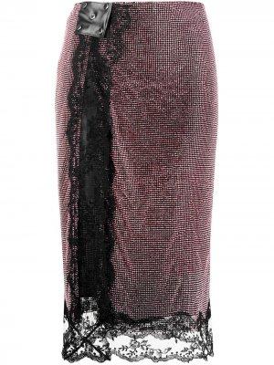 Юбка миди с кристаллами Christopher Kane. Цвет: розовый