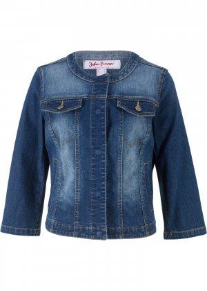 Куртка джинсовая с рукавами 3/4 bonprix. Цвет: синий