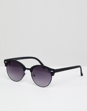Черные круглые солнцезащитные очки в металлической оправе -Черный New Look