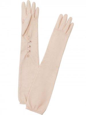 Длинные перчатки с пуговицами Fendi. Цвет: розовый