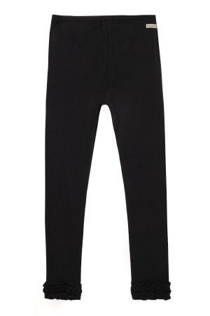 Трикотажные брюки для девочки MIKI HOUSE. Цвет: черный