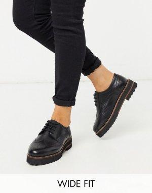 Черные кожаные броги для широкой стопы -Черный ASOS DESIGN