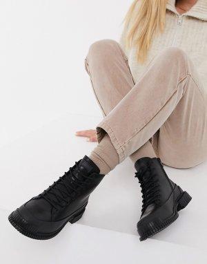 Черные кожаные походные ботинки на шнуровке и массивной подошве Pix-Черный Camper