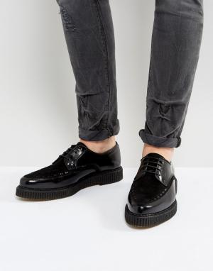 Черные кожаные туфли на шнуровке с мягкой подошвой ASOS DESIGN. Цвет: черный