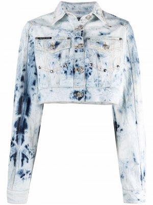 Укороченная куртка из вареного денима Philipp Plein. Цвет: синий