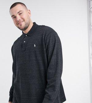 Черное поло из пике с длинными рукавами Big & Tall-Черный Polo Ralph Lauren