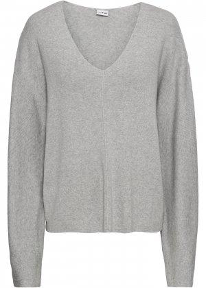 Пуловер оверсайз bonprix. Цвет: серый