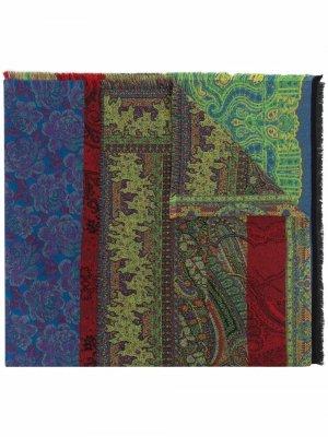 Patchwork fine-knit scarf ETRO. Цвет: зеленый