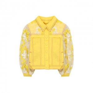 Джинсовая куртка Yudashkin Kids. Цвет: жёлтый