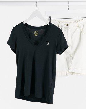 Черная футболка с V-образным вырезом -Черный Polo Ralph Lauren