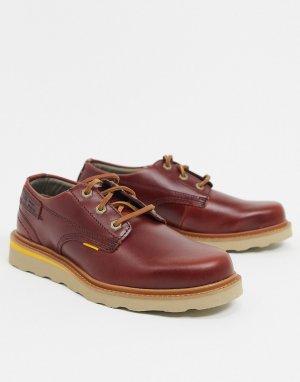 Низкие кожаные туфли винного цвета на шнуровке Caterpillar Jackson-Красный Cat Footwear