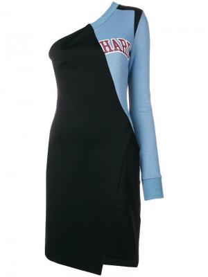 Платье на одно плечо College Off-White. Цвет: черный