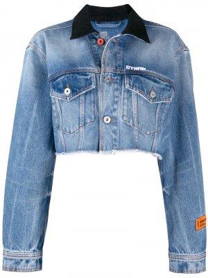 Джинсовая куртка с эффектом потертости Heron Preston. Цвет: синий