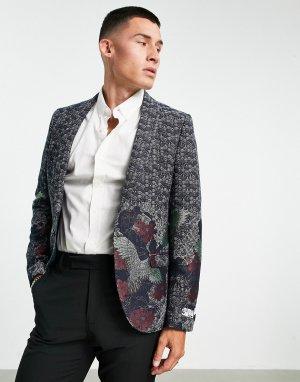 Темно-синий пиджак с жаккардовым рисунком журавлей и цветов Twisted Tailor