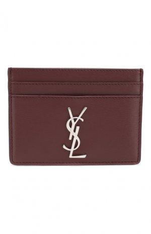Кожаный футляр для кредитных карт Monogram Saint Laurent. Цвет: бордовый