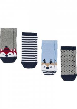 Новогодние носки с открыткой (4 шт.) bonprix. Цвет: синий