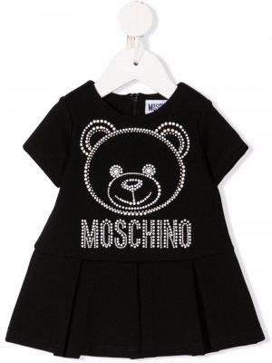 Платье с логотипом и заклепками Moschino Kids. Цвет: черный
